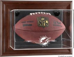 Miami Dolphins Brown Framed Wall-Mountable Football Case - Mounted Memories