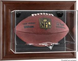 New England Patriots Brown Framed Wall Mounted Logo Football Case - Mounted Memories