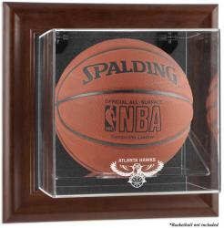 Atlanta Hawks Brown Framed Wall-Mounted Team Logo Basketball Display Case - Mounted Memories
