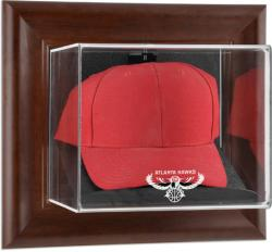 Atlanta Hawks Team Logo Brown Framed Wall-Mounted Cap Case
