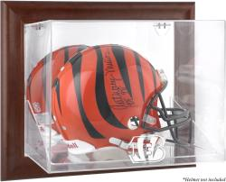 Cincinnati Bengals Brown Framed Wall-Mountable Logo Helmet Case - Mounted Memories