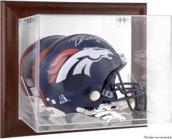 Denver Broncos Brown Framed Wall-Mountable Logo Helmet Case