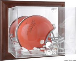 Cleveland Browns Brown Framed Wall-Mountable Logo Helmet Case - Mounted Memories