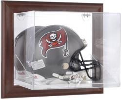 Tampa Bay Buccaneers Brown Framed Wall-Mountable Logo Helmet Case - Mounted Memories