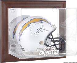 San Diego Chargers Brown Framed Wall-Mountable Logo Helmet Case - Mounted Memories