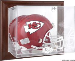Kansas City Chiefs Brown Framed Wall-Mountable Logo Helmet Case - Mounted Memories
