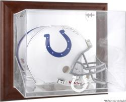 Indianapolis Colts Brown Framed Wall-Mountable Logo Helmet Case - Mounted Memories