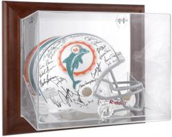 Miami Dolphins Brown Framed Wall-Mountable Logo Helmet Case - Mounted Memories