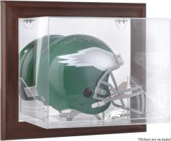 Philadelphia Eagles Brown Framed Wall-Mountable Logo Helmet Case - Mounted Memories