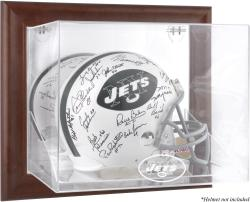 New York Jets Brown Framed Wall-Mountable Logo Helmet Case - Mounted Memories
