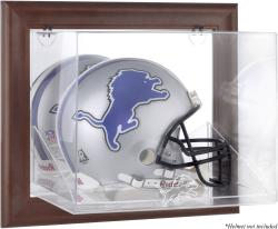 Detroit Lions Brown Framed Wall-Mountable Logo Helmet Case