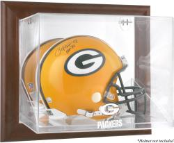 Green Bay Packers Brown Framed Wall-Mountable Logo Helmet Case - Mounted Memories