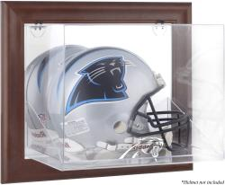 Carolina Panthers Brown Framed Wall-Mountable Logo Helmet Case - Mounted Memories