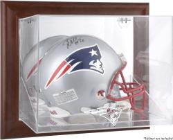 New England Patriots Brown Framed Wall-Mountable Logo Helmet Case - Mounted Memories