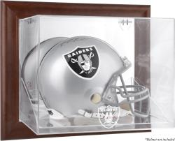 Oakland Raiders Brown Framed Wall-Mountable Logo Helmet Case - Mounted Memories