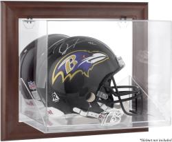 Baltimore Ravens Brown Framed Wall-Mountable Logo Helmet Case - Mounted Memories