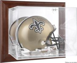 New Orleans Saints Brown Framed Wall-Mountable Logo Helmet Case - Mounted Memories