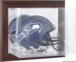 Seattle Seahawks Brown Framed Wall-Mountable Logo Helmet Case - Mounted Memories