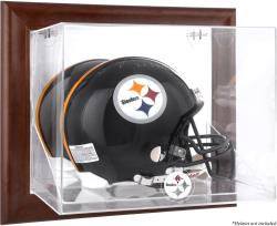 Pittsburgh Steelers Brown Framed Wall-Mountable Logo Helmet Case - Mounted Memories