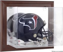 Houston Texans Brown Framed Wall-Mountable Logo Helmet Case - Mounted Memories