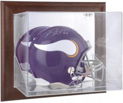 Minnesota Vikings Brown Framed Wall-Mountable Logo Helmet Case - Mounted Memories