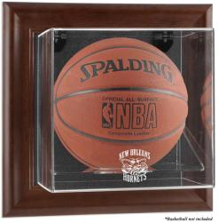 New Orleans Hornets Brown Framed Wall-Mounted Team Logo Basketball Display Case