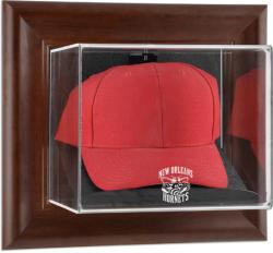 New Orleans Hornets Team Logo Brown Framed Wall-Mounted Cap Case