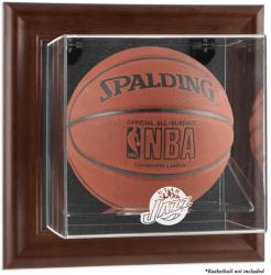 Utah Jazz Brown Framed Wall-Mounted Team Logo Basketball Display Case - Mounted Memories
