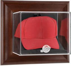 Utah Jazz Team Logo Brown Framed Wall-Mounted Cap Case