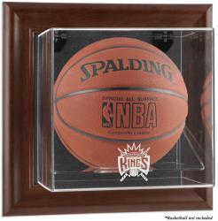 Sacramento Kings Brown Framed Wall-Mounted Team Logo Basketball Display Case