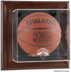 New York Knicks Brown Framed Wall-Mounted Team Logo Basketball Display Case
