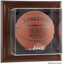 Los Angeles Lakers Brown Framed Wall-Mounted Team Logo Basketball Display Case