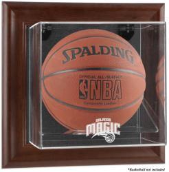 Orlando Magic Brown Framed Wall-Mounted Team Logo Basketball Display Case