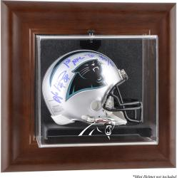 Carolina Panthers Mini Helmet Display Case - Brown - Mounted Memories