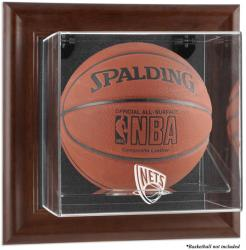New Jersey Nets Brown Framed Wall-Mounted Team Logo Basketball Display Case