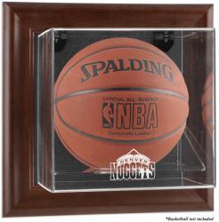 Denver Nuggets Brown Framed Wall-Mounted Team Logo Basketball Display Case