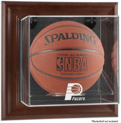 Indiana Pacers Brown Framed Wall-Mounted Team Logo Basketball Display Case