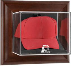 Indiana Pacers Team Logo Brown Framed Wall-Mounted Cap Case