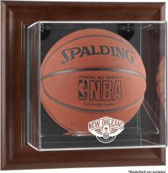 New Orleans Pelicans Brown Framed Wall Mounted Basketball Case - Mounted Memories
