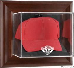 New Orleans Pelicans Brown Framed Wall Mounted Cap Case