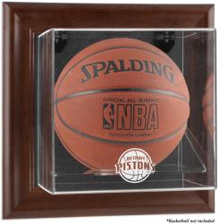 Detroit Pistons Brown Framed Wall-Mounted Team Logo Basketball Display Case