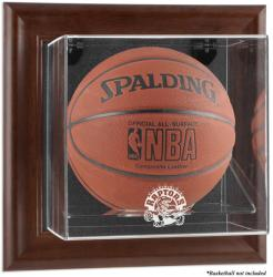 Toronto Raptors Brown Framed Wall-Mounted Team Logo Basketball Display Case