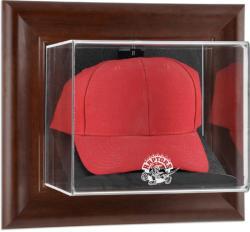 Toronto Raptors Team Logo Brown Framed Wall-Mounted Cap Case