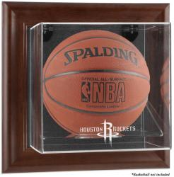 Houston Rockets Brown Framed Wall-Mounted Team Logo Basketball Display Case