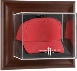 Houston Rockets Team Logo Brown Framed Wall-Mounted Cap Case
