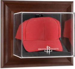 Houston Rockets Team Logo Brown Framed Wall-Mounted Cap Case