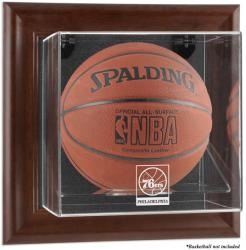 Philadelphia 76ers Brown Framed Wall-Mounted Team Logo Basketball Display Case - Mounted Memories