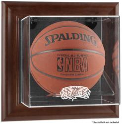 San Antonio Spurs Brown Framed Wall-Mounted Team Logo Basketball Display Case