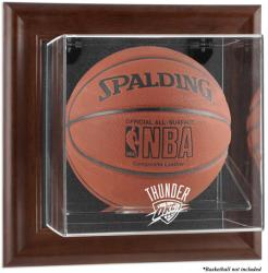 Oklahoma City Thunder Brown Framed Wall-Mounted Team Logo Basketball Display Case