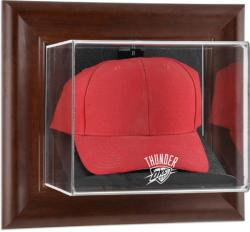 Oklahoma City Thunder Team Logo Brown Framed Wall-Mounted Cap Case